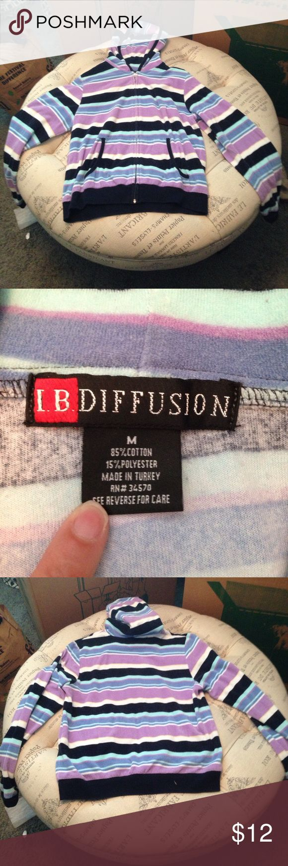 IB Diffusion purple striped zip up hoodie size M In good condition IB Diffusion purple stripe zip up hoodie size M SKU 209 I B Diffusion  Tops Sweatshirts & Hoodies