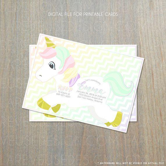 Arcobaleno unicorno inviti: neonata compleanno colorato da