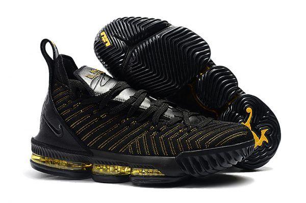 258cb1d485b17 Nike LeBron 16 Black Metallic Gold Men s Basketball Shoes in 2019 ...