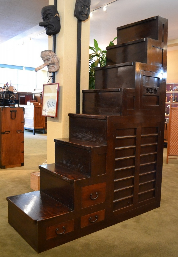 Built in the late 1800's, this step chest or Kaidan Tansu is made of Cedar and Cypress woods and priced at $3,800