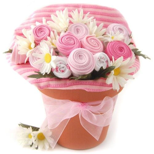 Nikki's Pink Baby Blossom Clothing Gift Bouquet - Gift Baskets by Occasion at Hayneedle