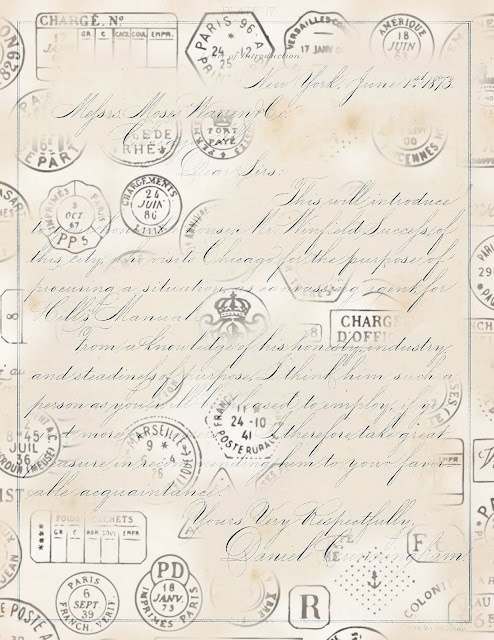 Paper created by combining handwriting and vintage postmarks.