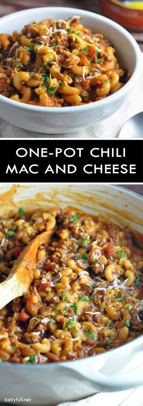 One Pot Chili Mac and Cheese - two favorite comfort foods come together in this super easy, one-pot dish that the whole family will go crazy for! paleo lunch crockpot