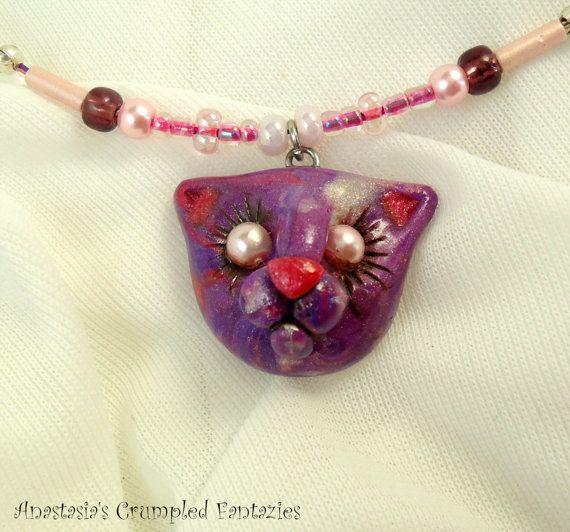 Purple pink pearl marbled kitty pendant by CrumpledFantazies