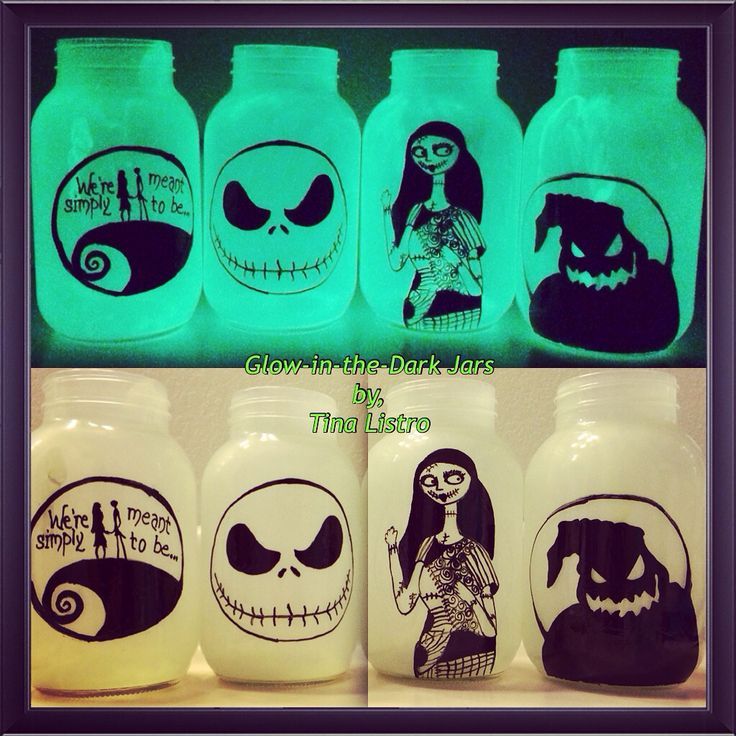 Glow-in-the-Dark Nightmare Before Christmas Mason Jars by, Tina Listro!!! Happy Early Halloween!!!