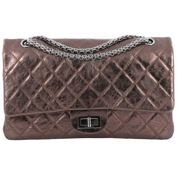 Preowned Chanel Reissue 2.55 Handbag Metallic Quilted Aged Calfskin... ($2,500) ❤ liked on Polyvore featuring bags, handbags, black, flap handbags, pre owned handbags, chain handle handbags, hand bags and quilted hand bags