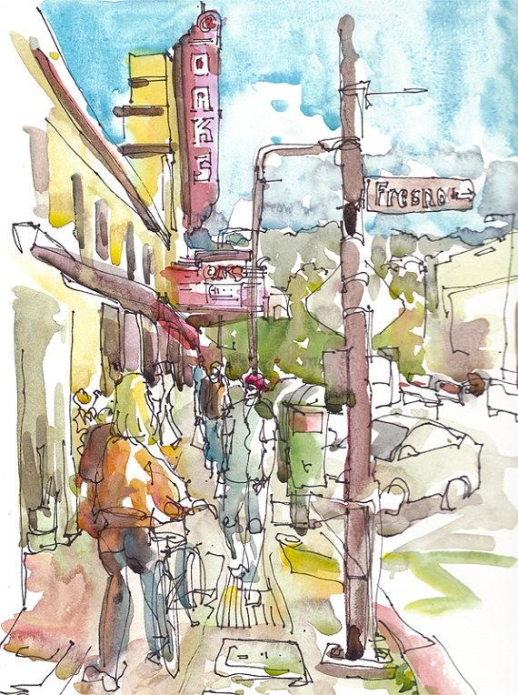 Solano Avenue, Berkeley. Watercolor, Pen and Ink
