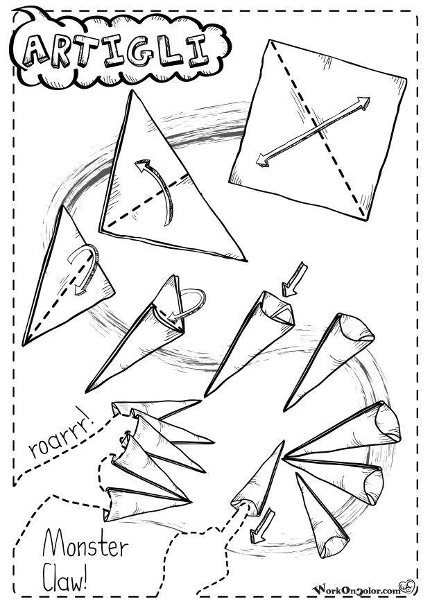 Origami instruction for Halloween Monster's Claws! Repeat 5 times and wear on your fingers * Istruzioni per creare artigli-origami e giocare a fare i mostri! * Follow me on www.facebook.com/illustrattiva