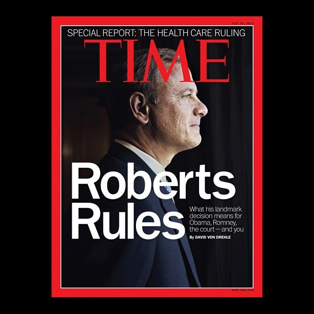 "TIME is releasing a special issue on the Supreme Court's health care decision with the cover line, ""Roberts Rules: What His Landmark Decision Means for Obama, Romney, the Court — And You."" This issue will hit newsstands on Monday, July 2. Read more about the issue on TIME.com (Photograph by Steve Pyke—Contour by Getty Images)"