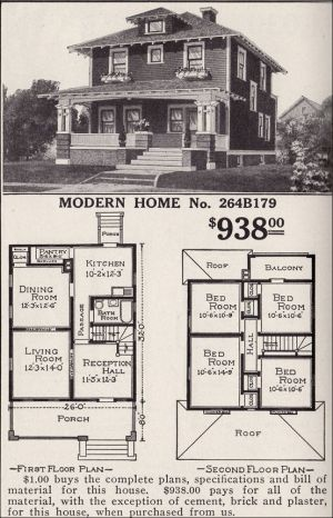 This is a copy of one of the ads for the American Foursquare. These houses were often mail order houses that were shipped pre-cut and all items included with a simple set of instructions for the owner to build themselves.