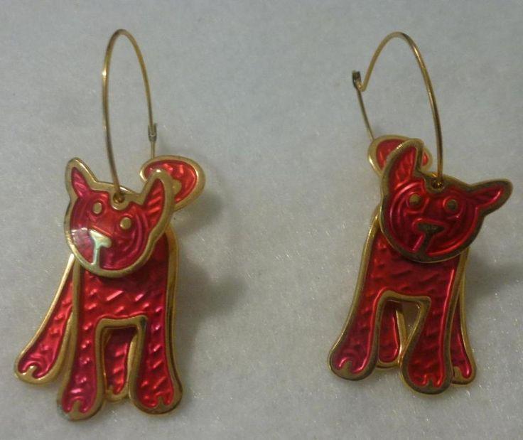 Berebi Gold Tone Red Enamel Cat Hoop Pierced Earrings