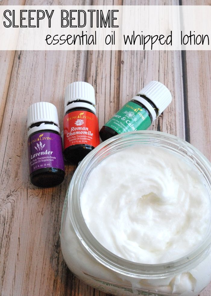 Essential Oil sleepy bedtime whipped lotion recipe