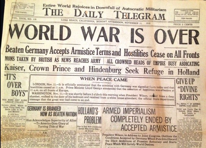 November  11 1918 is the official ending of world war 1