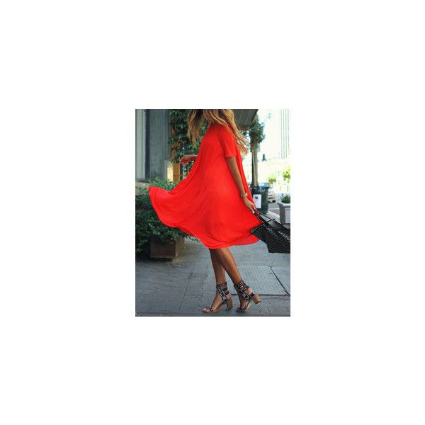 Beach Dresses For Women-Us SheIn(Sheinside) ❤ liked on Polyvore featuring dresses, red beach dress, red dress and beach dresses