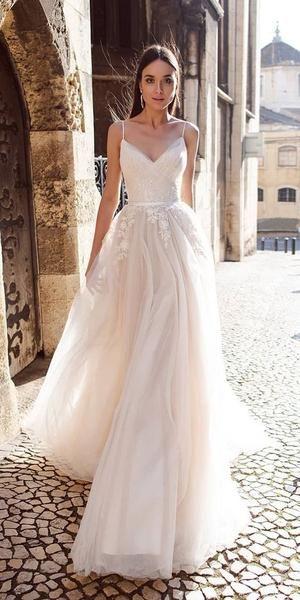 Spaghetti Strap Beaded Ivory Tulle Wedding Dresses LU1891
