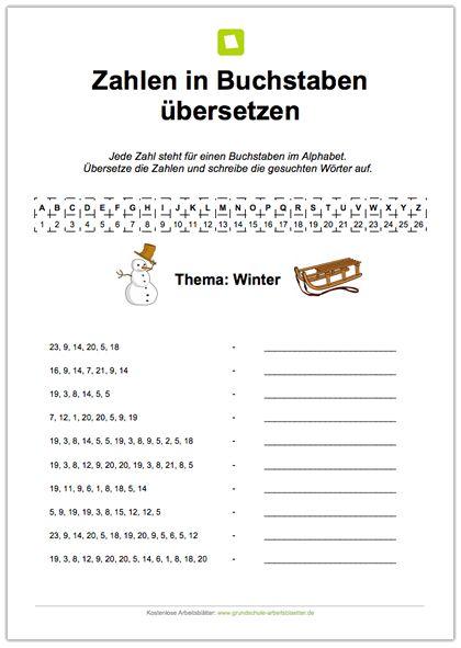 Auf diesem kostenlosen Arbeitsblatt steht jede Zahl  für einen Buchstaben. Die Kinder sollen die Zahlen in Buchstaben übersetzen und die gesuchten Wörter zum Winter aufschreiben.
