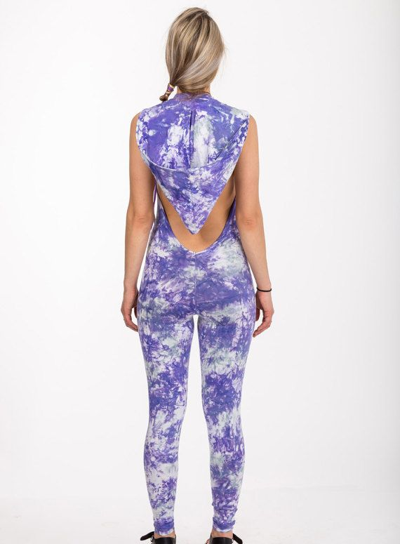 Galaxy Playsuite  purple tie dye catsuit romper by Alienelia