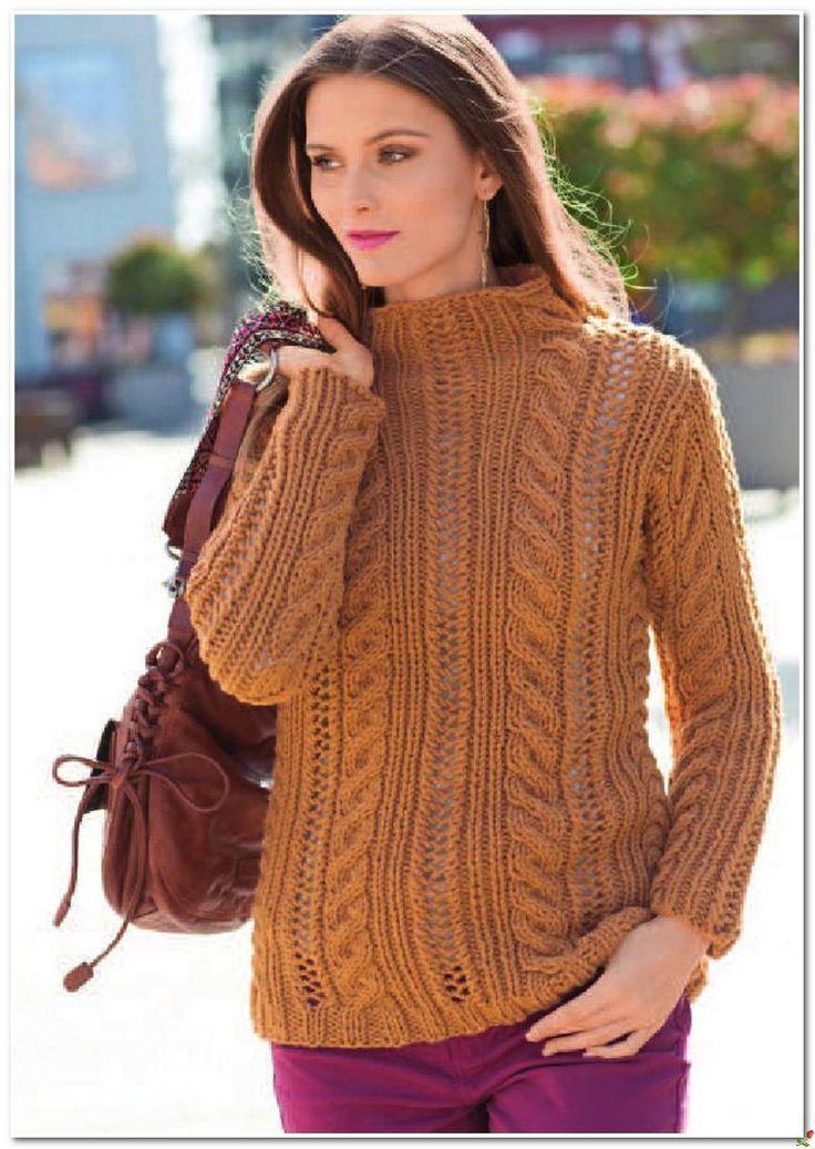 Пуловер со жгутами