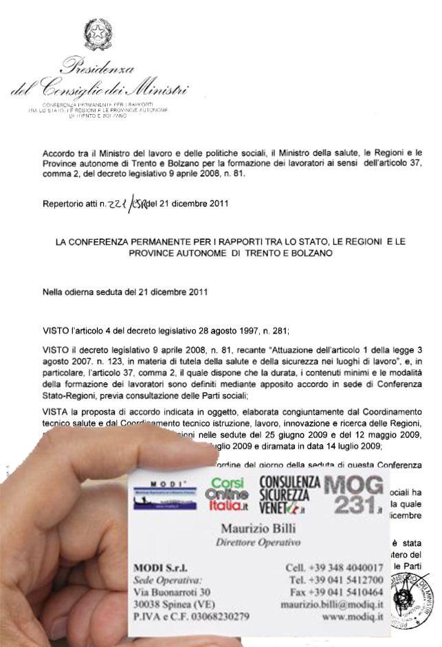 Accordo Conferenza Stato Regioni - articoli 34 e 37 del D. Lgs. n. 81/2008