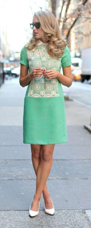 green check + crochet inlay details #casualfriday