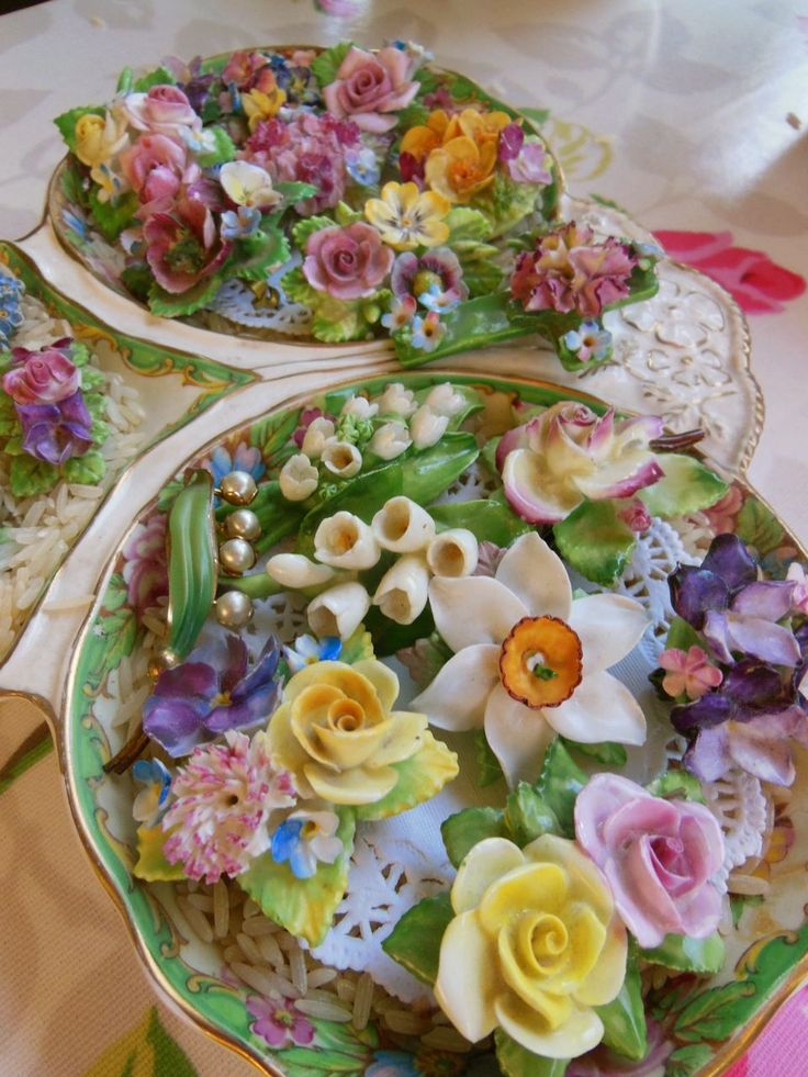 Vintage china flower brooches