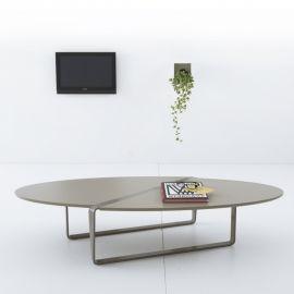 Diseño mesa de centro oval en MDF con Holden metales