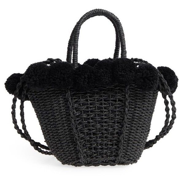 Women's Topshop Sia Pom Straw Shopper Bag (170 RON) ❤ liked on Polyvore featuring bags, handbags, tote bags, black, shopper tote, pom pom purse, shopper handbag, pom pom handbag and topshop tote