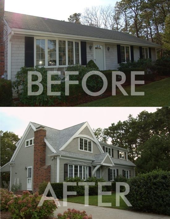 Before and after adding second story on 1950s ranch | 2nd story addition on a ranch style house.