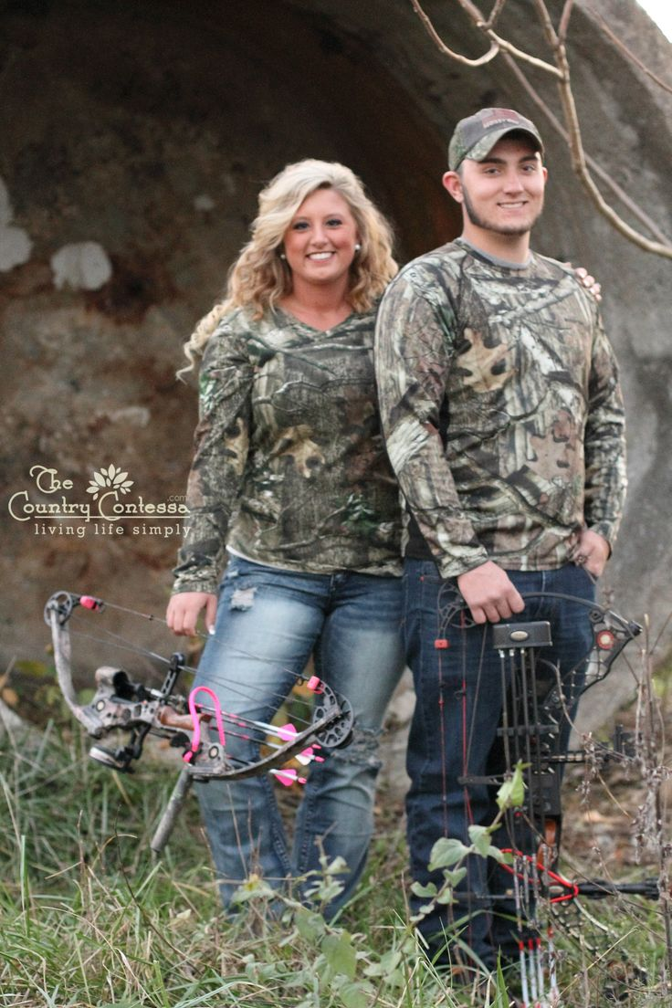 Engagement hunting couple with their bows and arrows. #engagement #hunting #bows www.thecountrycontessa.com