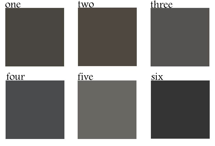 The 6 Best Dark Paint Colors: Sherwin Williams Sealskin, (2) Sherwin Williams Black Fox, (3) Restoration Hardware Flint, (4) Benjamin Moore Wrought Iron, (5) Benjamin Moore Kendall Charcoal, (6) Benjamin Moore Jet Black. Bynum Design - Nashville, TN