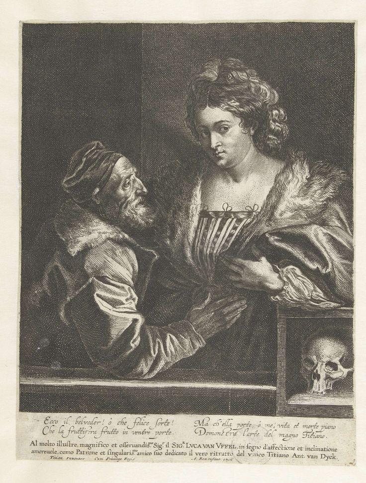 Anthony van Dyck | Titiaan en zijn maitresse, Anthony van Dyck, Lucas Vorsterman (I), Anton Goetkint, after 1627 - before 1644 | Kopie naar een zelfportret van Titiaan met een jonge vrouw. Rechts een doodshoofd. Het schilderij van Titiaan is verloren gegaan, door de ets van Van Dyck weten we hoe het er uitzag. Onderschrift met een dedicatie aan de handelaar en kunstliefhebber Lucas van Uffel en een Italiaans gedicht.