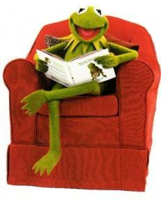 Kermit the Frog. Kermit has always been there for me. :D Here we see him reading his own autobiography. Which I have got. :D
