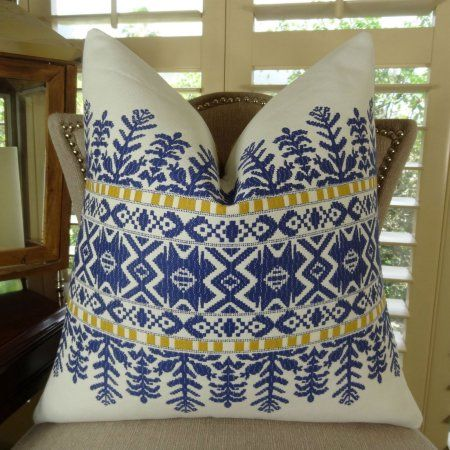 Plutus Aztec City Handmade Throw Pillow, Double Sided, Blue