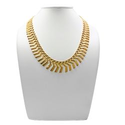 18ct Gold Solid Patterned Necklace