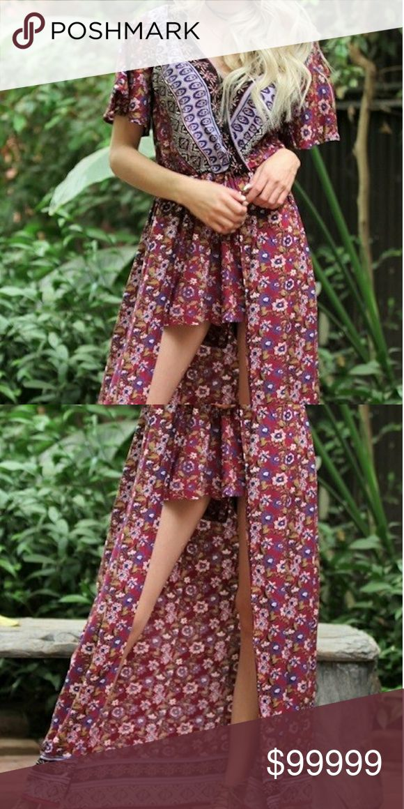 """Trendy New super cute shorts maxi skirt romper Adorable New Hot and trendy maxi Romper. Is shorts romper with half a maxi skirt. Gorgeous floral design. Deep pink, white, black, purple. Cross over top part for slimming effect. Small fits approx. 3-6, medium 7-9, and large 10-12. Measures approx. 26"""" from top of dress to bottom of shorts and total length approx. 51"""". 100% Rayon Angie Pants Jumpsuits & Rompers"""