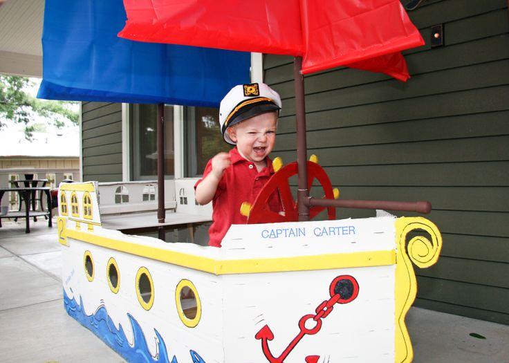 Nautical birthday party cardboard boat (boy's 2nd birthday).