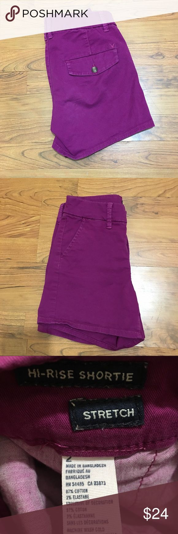 American Eagle High Rise Shorts Size 2 American Eagle High Rise Shorts  Size 2  Purple/Pink - Fuchsia Color   Preowned, in great condition, no rips or stains. Perfect for a pop of color for your festival style. American Eagle Outfitters Shorts