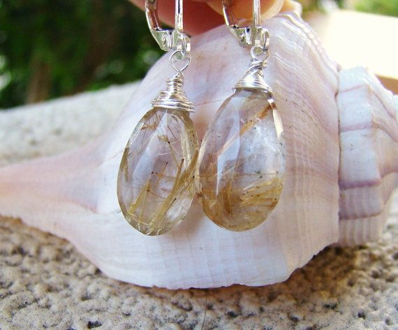 Golden Rutilated Quartz Earrings  Sterling Silver by VeraidaGifts