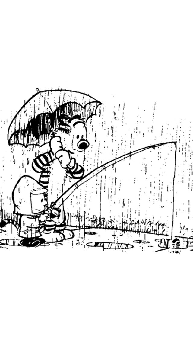 Calvin and Hobbes, It's raining in Denver today... so I'm in a rainy mood.