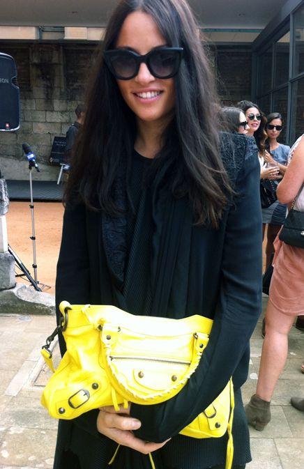 Neon yellow Balenciaga bag and Tom Ford shades - cool cal. Via Style Me Romy