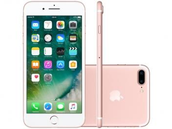 "iPhone 7 Plus Apple 256GB Ouro Rosa 4G 5,5"" - Câm. 12MP + Selfie 7MP iOS 10 Proc. Chip A10"