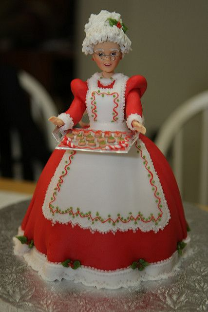 Mrs. Claus Doll Cake by cakemommy, via Flickr
