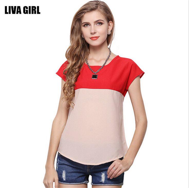 Summer Style Contrast Color Clothing Cheap T shirt Women Loose T shirt Chiffon Short Sleeve Thin T Shirt Cheap Clothing China