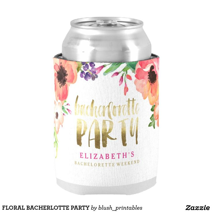 Chic aquarelle floral bachelorette party personalized can cooler