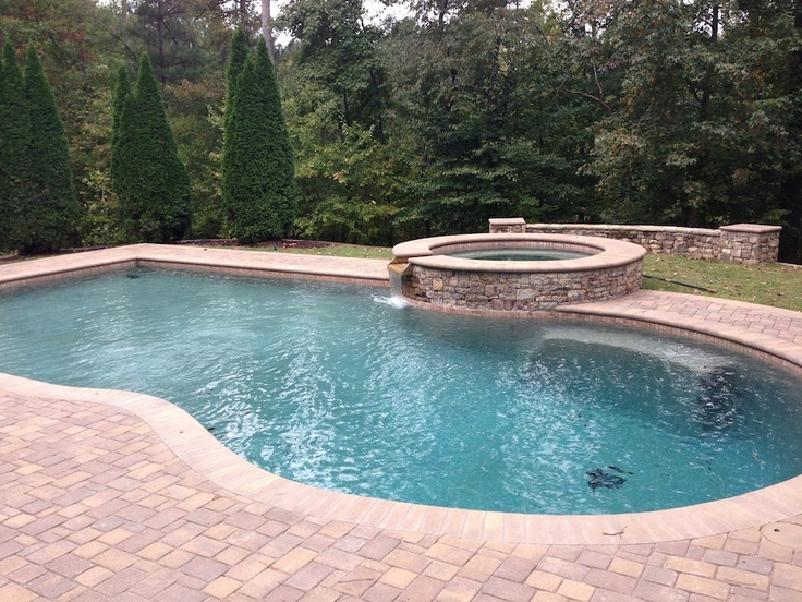 Paver pool patio with bullnose paver coping patios and for In ground pool coping ideas
