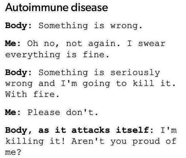 But long story short: Our bodies are in a civil war with themselves. | 18 Things People With Autoimmune Diseases Want You To Know