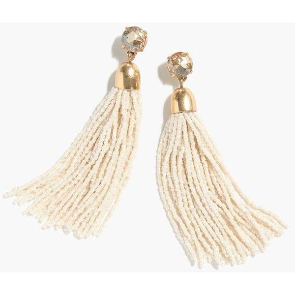 J.Crew Beaded Tassel Earrings ($86) ❤ liked on Polyvore featuring jewelry, earrings, tassle earrings, beaded earrings, tassel earrings, steel jewelry and beading jewelry