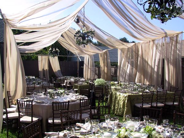 Backyard wedding idea that I LOVE!! Maybe with lights to separate from fire