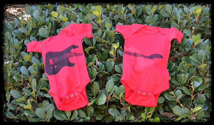 Guitar Babe onesie for twin baby rockers!