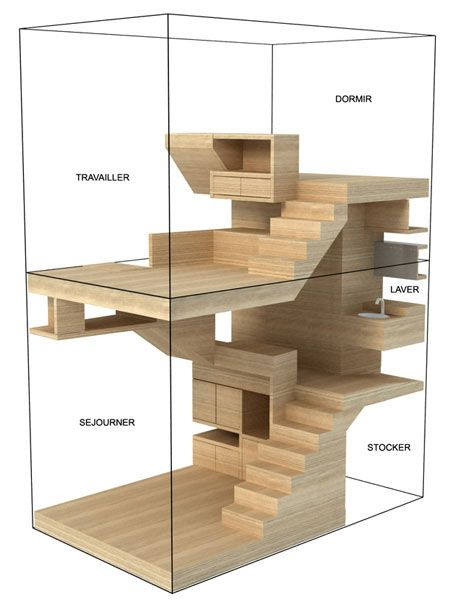 "How to maximise use of limited floor space (12m²) for a teenager with a kind of ""inhabitable furniture"". Multiple spaces are connected in a unique volume in a series of four split-levels with dedicated areas for each of the programmatic functions."